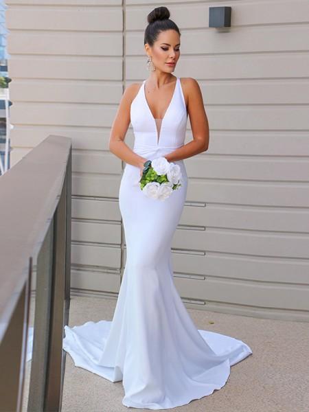 Sheath/Column Stretch Crepe V-neck Ruched Sleeveless Sweep/Brush Train Wedding Dresses