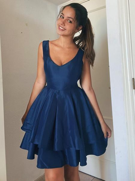 A-Line/Princess Straps Sleeveless Satin Layers Short/Mini Homecoming Dresses
