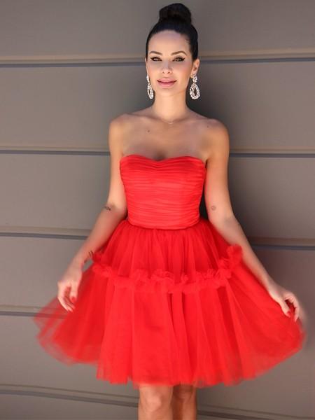 A-Line/Princess Strapless Tulle Ruffles Sleeveless Short/Mini Homecoming Dresses