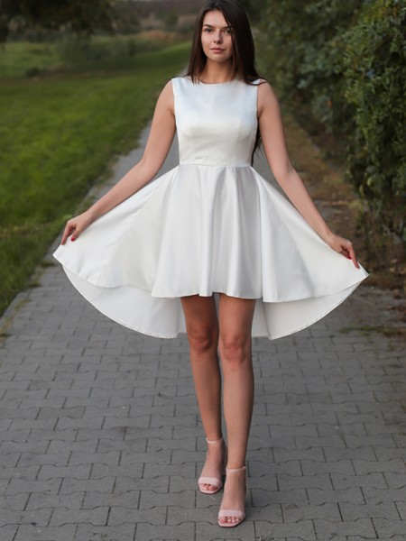 A-Line/Princess Satin Ruffles Jewel Sleeveless Short/Mini Homecoming Dresses