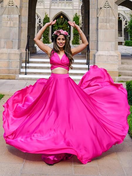 A-Line/Principessa Raso Chiffona Increspato Scollatura a V Senza maniche A terra Due pezzi Dresses