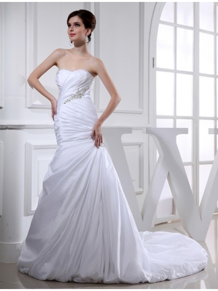 Perline Sirena Lungo Taffettà Abiti da Matrimonio