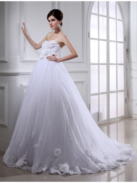Da ballo Perline Fiori Senza spalline Senza Maniche Lungo Del Organza Abiti da Matrimonio
