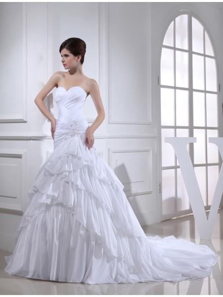 Sirena Perline Applique Scollatura a cuore Senza Maniche Lungo Taffettà Abiti da Matrimonio