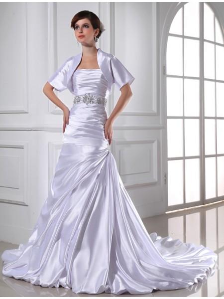 Sirena Perline Senza spalline Senza Maniche Applique Raso Elastico Abiti da Matrimonio