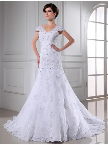 Principessa Scollo a V Perline Senza Maniche Lungo Del Organza Abiti da Matrimonio