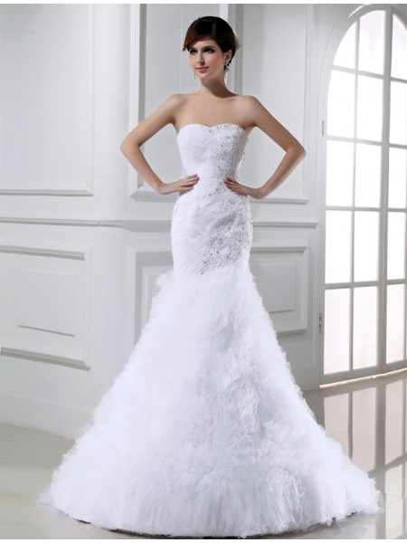 Sirena Perline Senza Maniche Tyll Lungo Abiti da Matrimonio