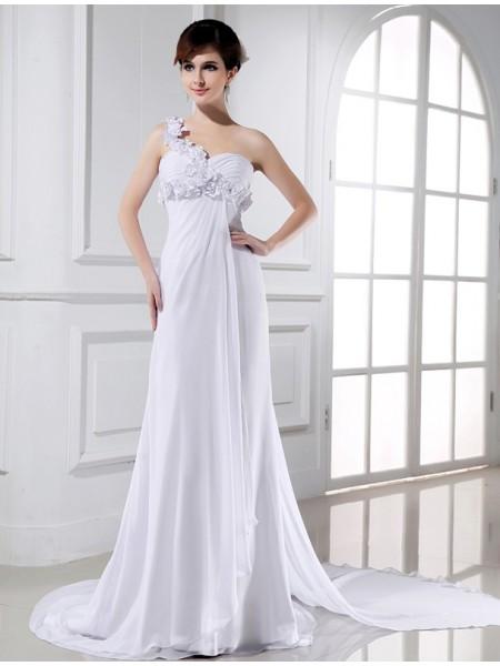 Principessa Monospalla Perline Fiori Senza Maniche Chiffona Abiti da Matrimonio