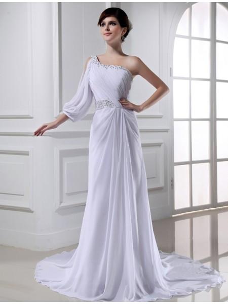 Principessa Perline Monospalla One-sleeve Chiffona Abiti da Matrimonio