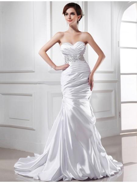 Sirena Perline Scollatura a cuore Senza Maniche Raso Elastico Abiti da Matrimonio
