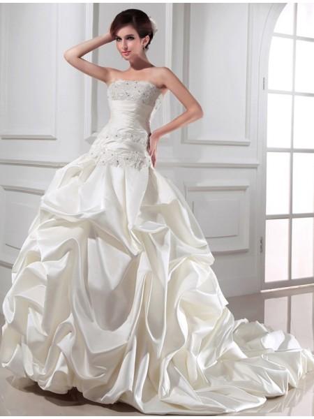 Da ballo Perline Senza spalline Senza Maniche Lungo Raso Abiti da Matrimonio