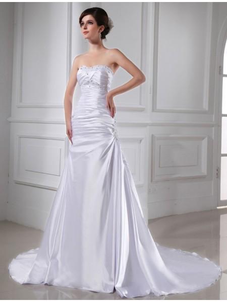 Principessa Perline Applique Senza Maniche Raso Elastico Abiti da Matrimonio
