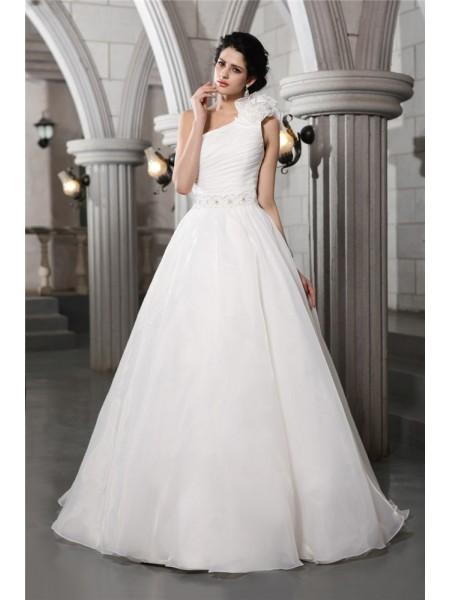 Principessa Monospalla Senza Maniche Perline Lungo Del Organza Abiti da Matrimonio