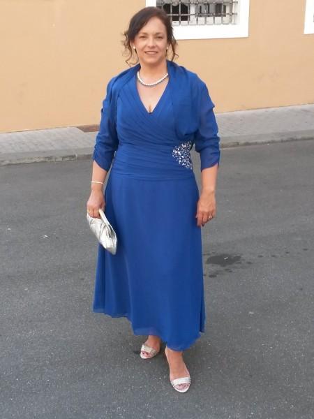 Principessa Scollatura a V Senza maniche Raso Chiffona Perline Alle caviglie Abiti Mamma Sposa