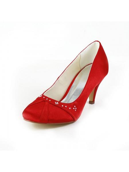Donna Bello Raso tacco a cono punta chiusa Red Scarpe da sposa Con Strass