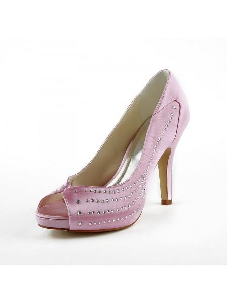 Donna Raso tacco a spillo Peep Toe Piattaforme Pink Scarpe da sposa Con Strass