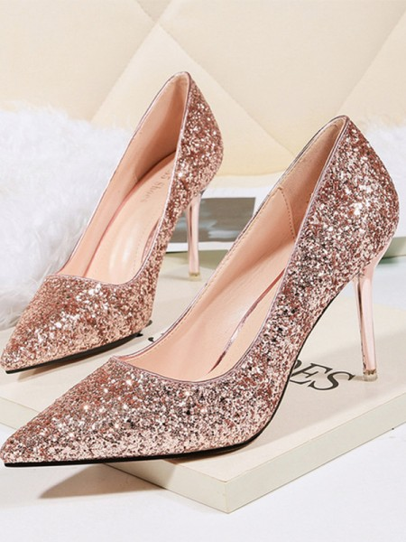 Women's Stiletto Heel Sparkling Glitter Closed Toe Tacchi alti