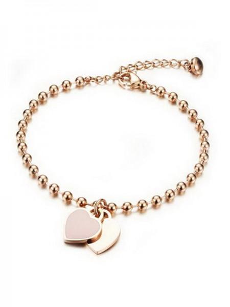 Ladies' Semplice Peach Heart Titanium Bracciali