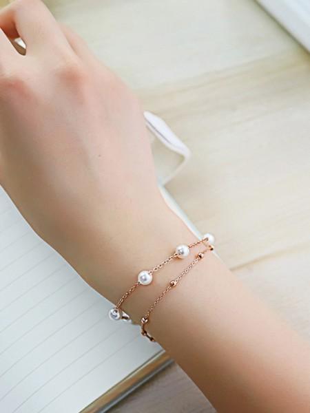 Ladies' Semplice Titanium Perline Bracciali