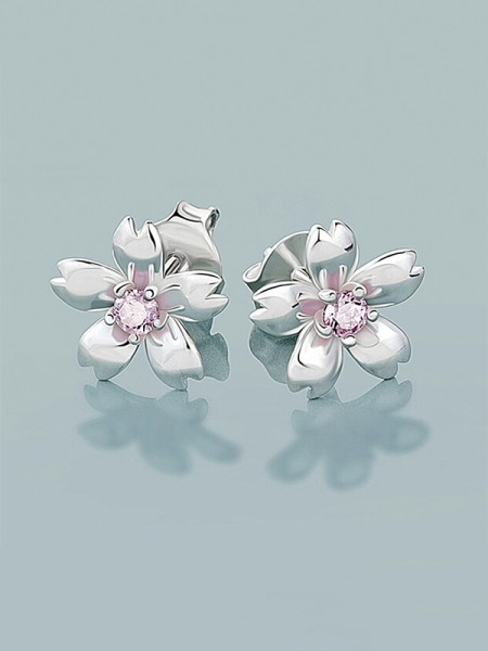 New 925 Sterling Silver With Flowers Women's Orecchini