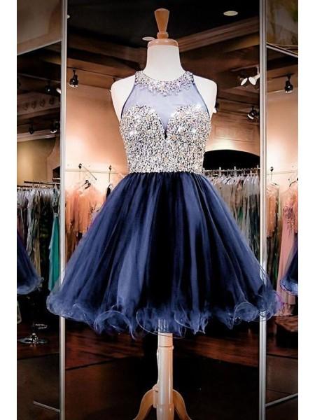 A-Line/Principessa Senza maniche Scollo a barchetta Tyll Perline Corto/Mini Dresses