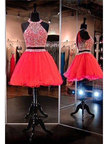 A-Line/Principessa Senza maniche A bikini Tyll Perline Corto/Mini Due pezzi Dresses