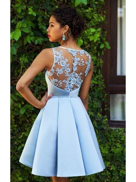 A-Line/Principessa Senza maniche Scollo a barchetta Raso Applique Corto/Mini Dresses