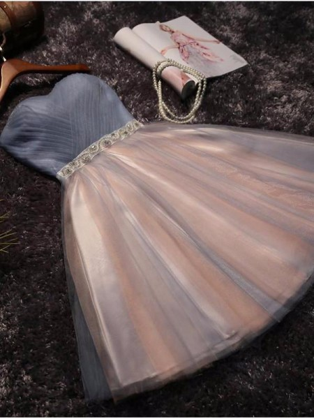 A-Line/Principessa Senza maniche A cuore Tyll Perline Corto/Mini Dresses