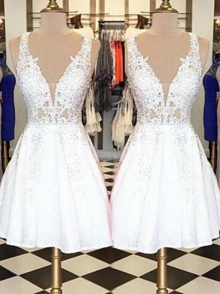 A-Line/Principessa Senza maniche Scollo a barchetta Pizzo Applique Corto/Mini Dresses
