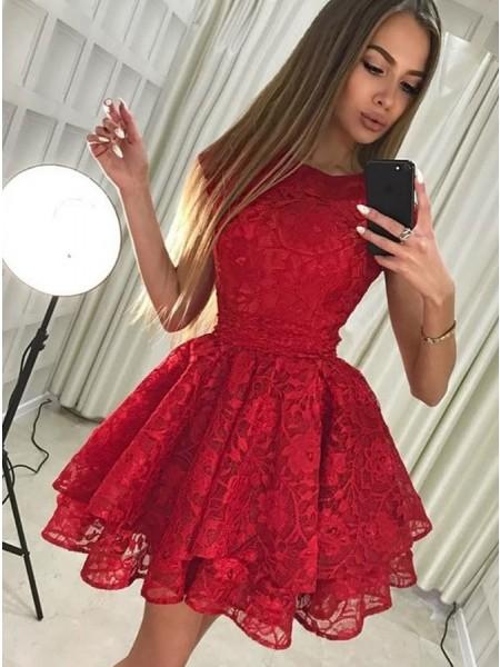 A-Line/Principessa Senza maniche Tondo Pizzo Corto/Mini Dresses