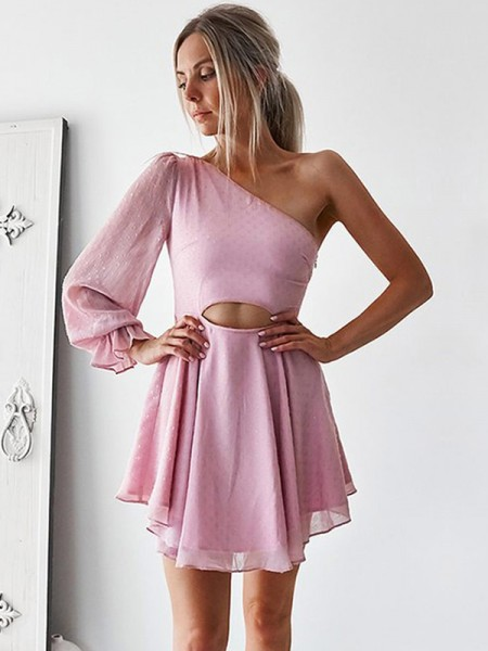 A-Line/Principessa Chiffona Monospalla Lungo Sleeves Increspature Corto/Mini Dresses