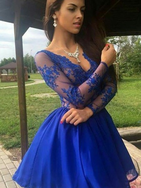 A-Line/Principessa Del del-organza Scollatura a V Applique Lungo Sleeves Corto/Mini Dresses