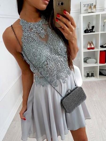 A-Line/Principessa Chiffona A bikini Applique Senza maniche Corto/Mini Dresses
