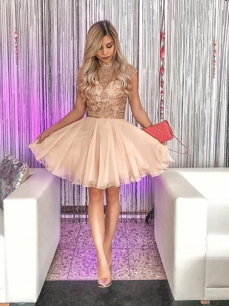 A-Line/Principessa Senza maniche Collo alto Chiffona Perline Corto/Mini Dresses