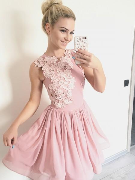 A-Line/Principessa Tondo Senza maniche Chiffona Applique Corto/Mini Dresses