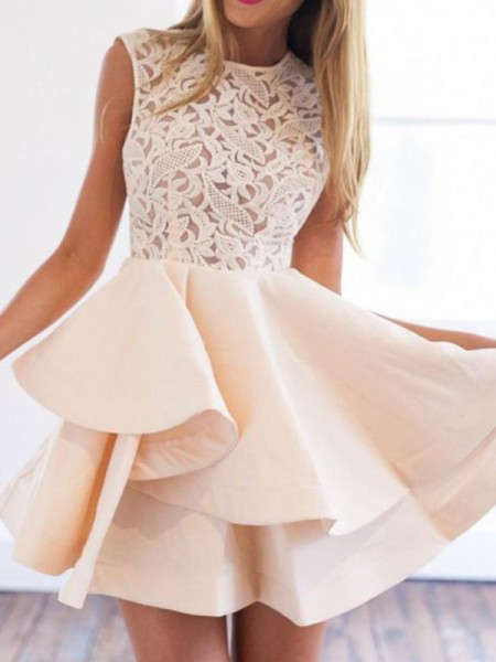 A-Line/Principessa Raso Tondo Applique Senza maniche Corto/Mini Dresses