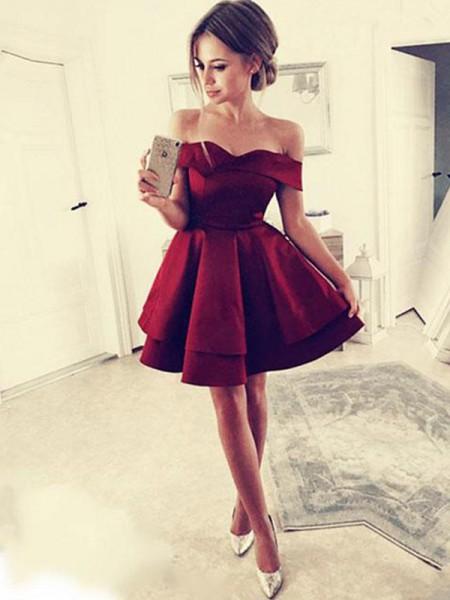 A-Line/Principessa Increspature Raso Abiti senza spalline Senza maniche Corto/Mini Dresses