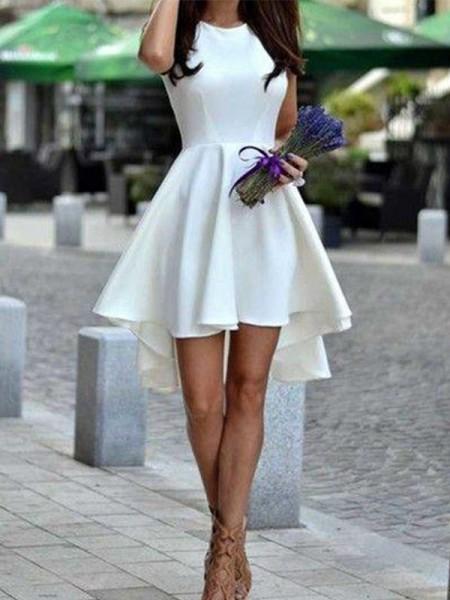 A-Line Scollatura gioiello Cut Corto With Increspature Raso White Abiti da festa