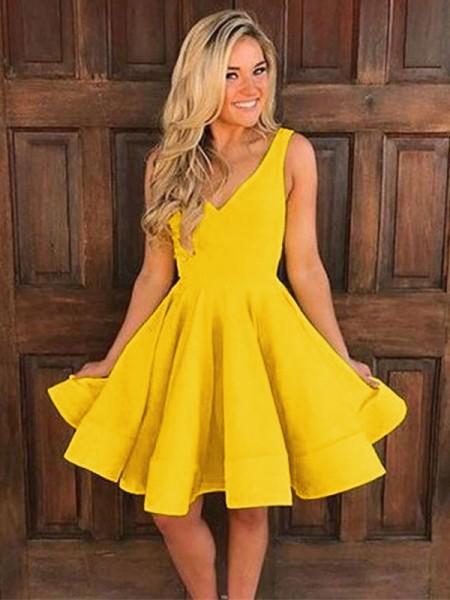 A-Line/Principessa Senza maniche Spalline Raso Increspature Corto/Mini Dresses