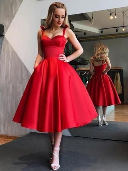 A-Line/Principessa Spalline Raso Senza maniche Increspature Lunghezza Tè Dresses