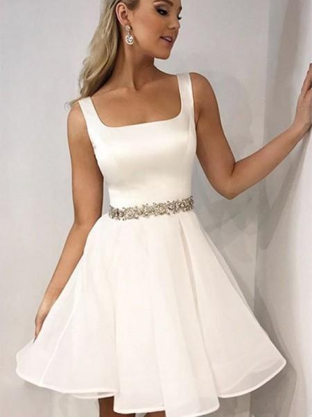 A-Line/Principessa Senza maniche Spalline Chiffona Perline Corto/Mini Dresses