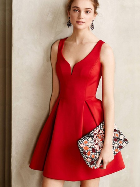 A-Line/Principessa Raso Senza maniche Corto/Mini Increspature Scollatura a V Dresses