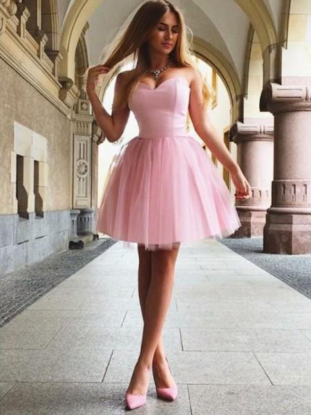 A-Line/Principessa A cuore Increspature Senza maniche Raso Corto/Mini Dresses