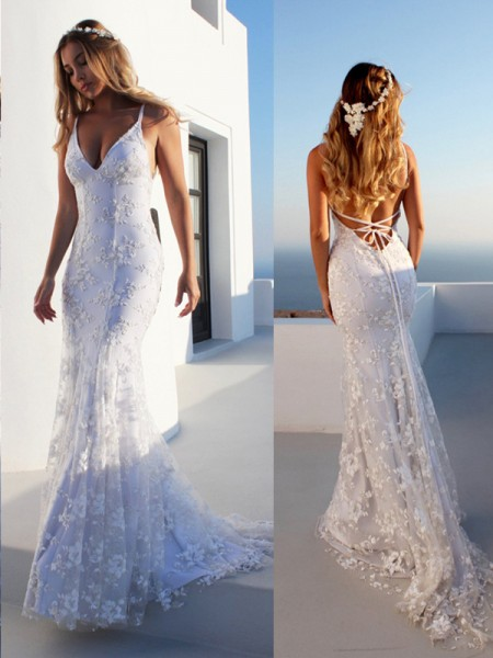 Trumpet/Mermaid Spaghetti Straps Sleeveless Lace Court Train Tulle Wedding Dresses