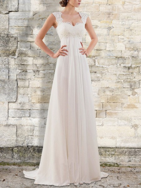 Empire Sweep/Brush Train Bateau Sleeveless Chiffon Wedding Dresses