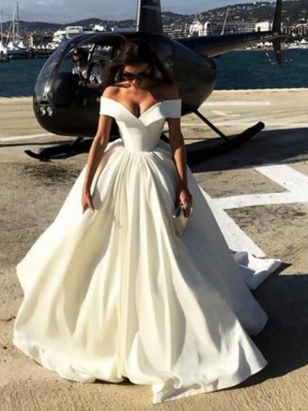 Ball Gown Off-the-Shoulder Court Train Satin Wedding Dresses