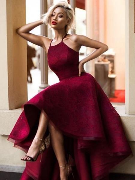 A-Line/Principessa Senza maniche Scollatura gioiello Asimmetrico Increspature Pizzo Abiti da Cerimonia