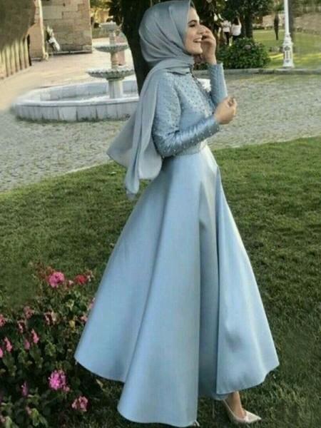 A-Line/Principessa Maniche lunghe Tondo A terra Perline Raso Muslim Abiti da Cerimonia