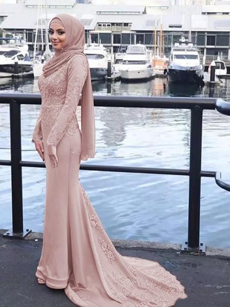 A sirena/Stile sirena Maniche lunghe Tondo Sweep/Spazzola treno Appliques Raso Muslim Abiti da Cerimonia