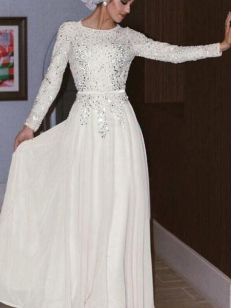 A-Line/Principessa Maniche lunghe Tondo A terra Cristallo Chiffona Muslim Abiti da Cerimonia